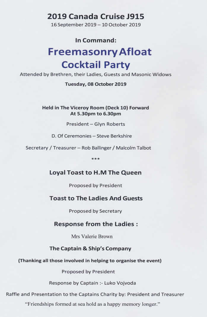 Masonic Cocktail Party Agenda