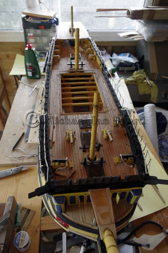 Model Foredeck view with carronades and spar cannos