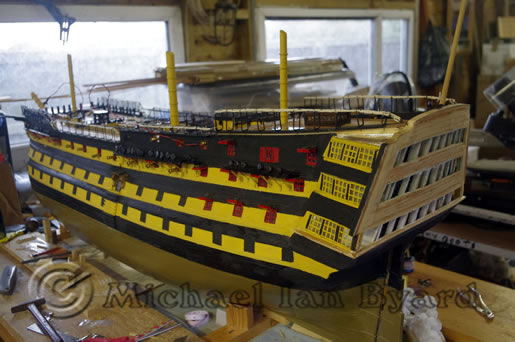 Port side view of model
