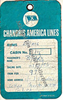 Back of baggage label issued from New York Office