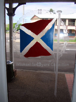 AUSN Houseflag engraved on glass front door