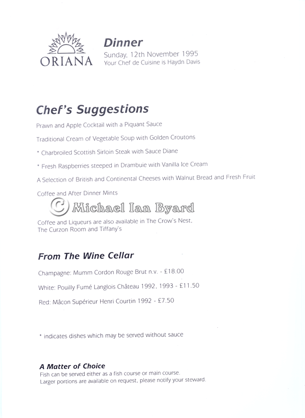 Oriana Dinner Menu example