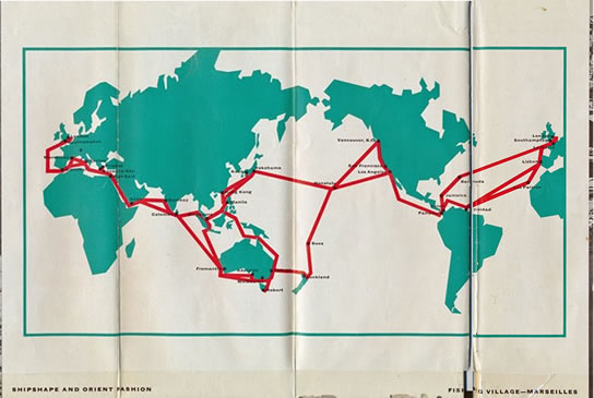 P and O-Orient World sea Routes