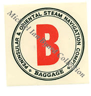 P and O Baggage Initial Label