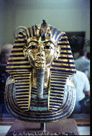 The gold mask of Tutankhamun at Cairo Museum, April 1965