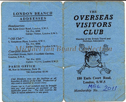 Overseas Visitors Club Card cover