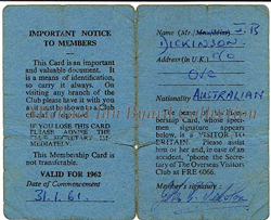 Reverse side of the OVC membership card