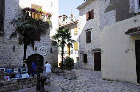Small square inside medieval walls of Kotor