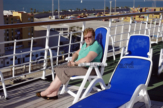 Anne waiting for Oriana to sail