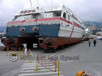 Twin hulled ferries out for maintenance